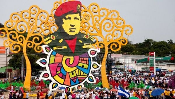 Hugo Chavez Plaza in Managua, Nicaragua honoring the late Venezuelan leader. (United Socialist Party of Venezuela).