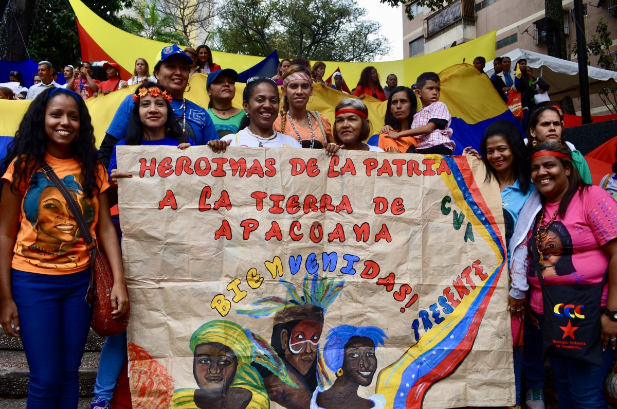 """Heroines of the Homeland! Welcome to the land of Apacuana!"" (Rachael Boothroyd Rojas/Venezuelanalysis)"