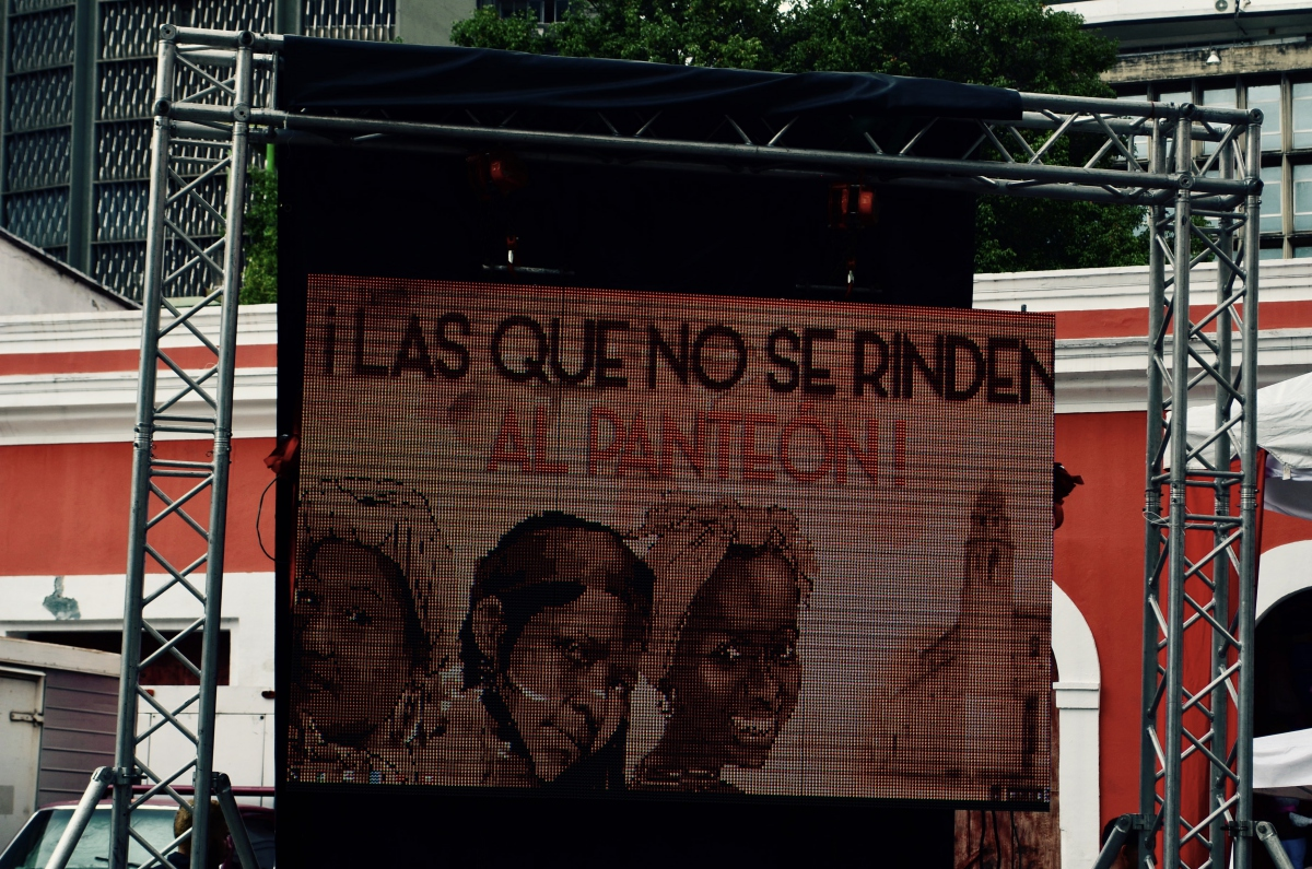 """""""Those women who don't give in, to the pantheon!"""". The three women depicted are La Negra Hipolita, Jefa Pacuana, and La Negra Matea. (Rachael Boothroyd Rojas/Venezuelanalysis)"""