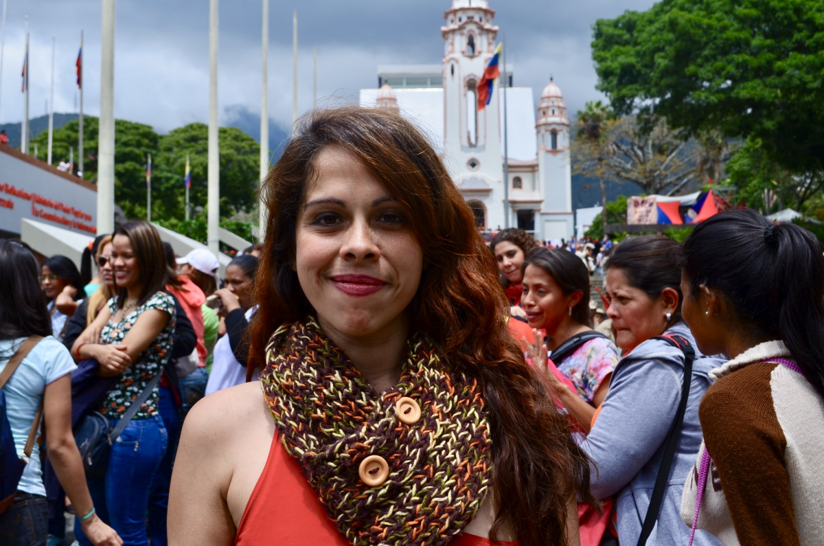 Maria Eugenia Acero Colomines, National Coordinator for Culture and Gender at the Venezuelan Ministry for Women and Gender Equality, stands outside the National Pantheon of Heroes. (Rachael Boothroyd Rojas/Venezuelanalysis)