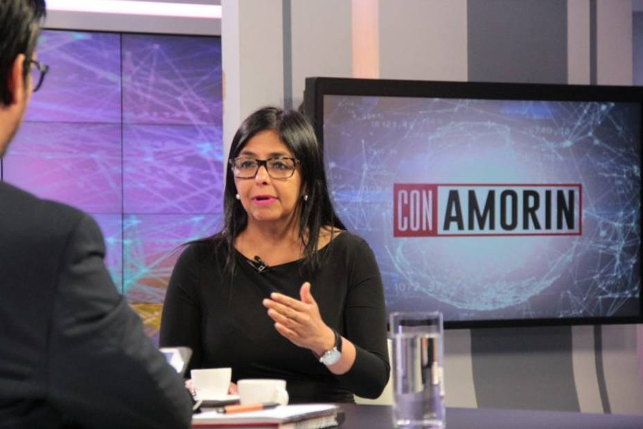 Venezuela's Foreign Minister Delcy Rodriguez responds to the 11 country statement on state TV Tuesday. (ElUniversal)