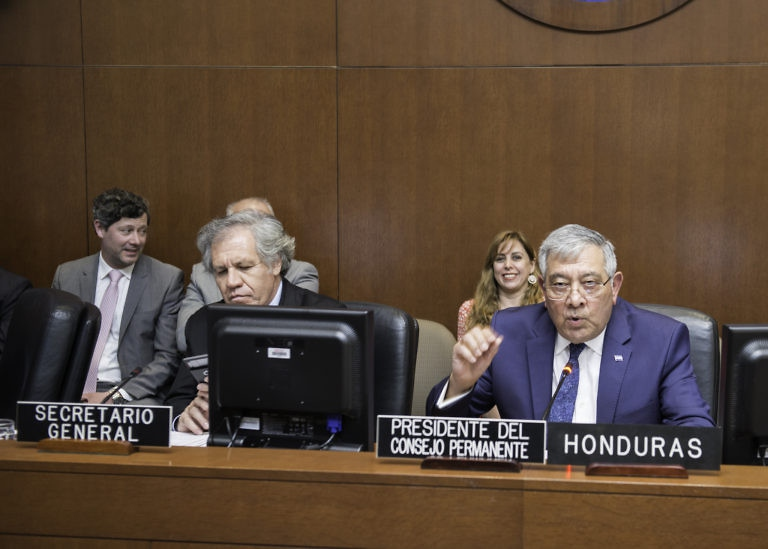 "Honduran OAS ambassador Leonidas Rosa Bautista (right) acted as ""interim president"" in what was widely denounced as an ""institutional coup"". (Juan Carlos Herrera/OAS)"