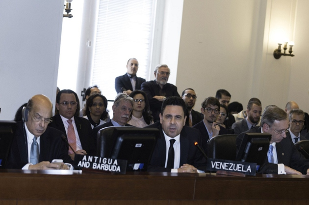 "Venezuelan OAS representative Samuel Moncada denounced a ""coup"" at the OAS. (@vencancilleria)"