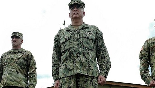 Adm. Kurt Tidd, commander of U.S. Southern Command, presides over a ceremony at Soto Cano Air Base, Honduras, on July 7, 2016. (U.S. Air Force/ Handout)