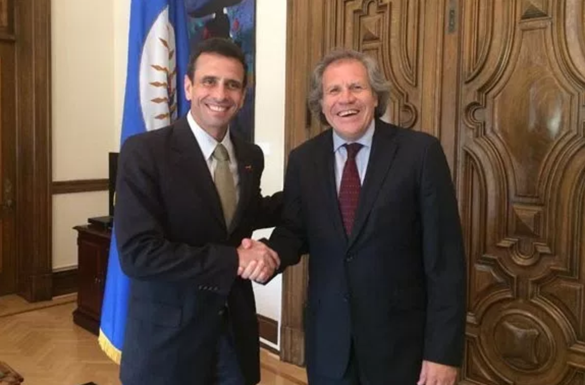 Venezuelan opposition leader Henrique Capriles Radonski and OAS Secretary General Luis Almagro. (archives)