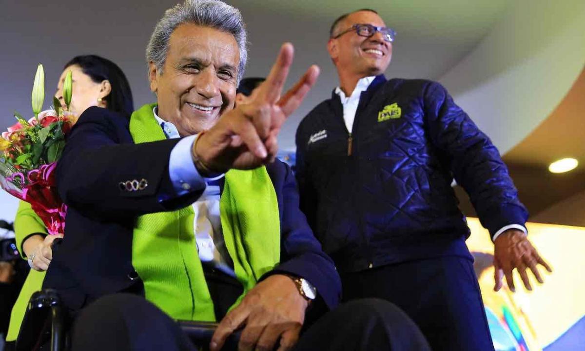 Ecuadorian President-elect Lenin Moreno with his running mate, sitting Vice-President Jorge Glas, right. (Jose Jacome/EPA)