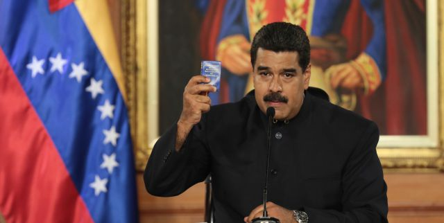 "Speaking at the Tiuna Military Fort in Caracas, Maduro called for an end to ""violence and guarimbas"". (AVN)"