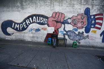 "Graffiti in Caracas that reads ""imperialism"". (Reuters/Jorge Silva)"