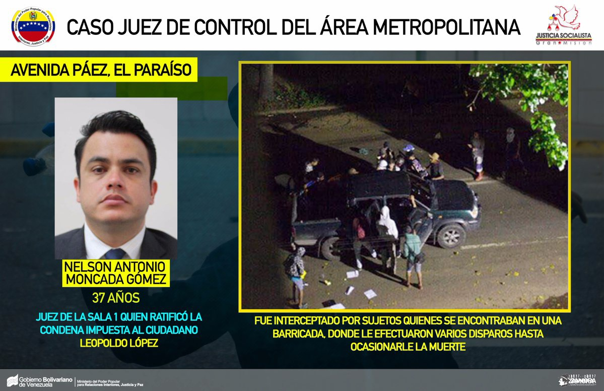 Nelson Antonio Moncada Gomez (L) was killed Wednesday, in what authorities suspect may have been a political assassination. (MPPRIJP/Handout)