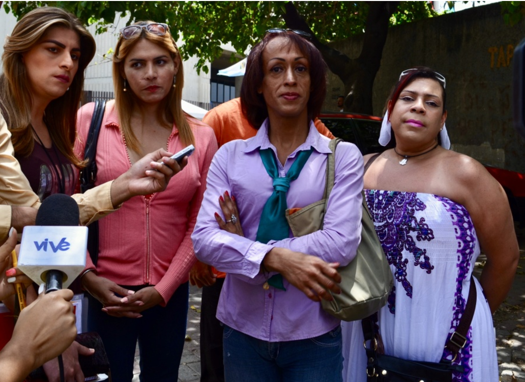 Members of the LGBTQ rights group Divas of Venezuela file the petition on April 6th. (Rachael Boothroyd Rojas/Venezuelanalysis)