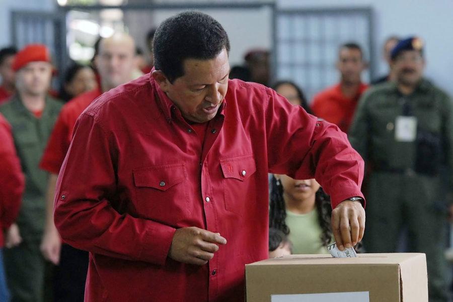 Hugo Chávez voting in 2007. Wilson Dias / Wikimedia