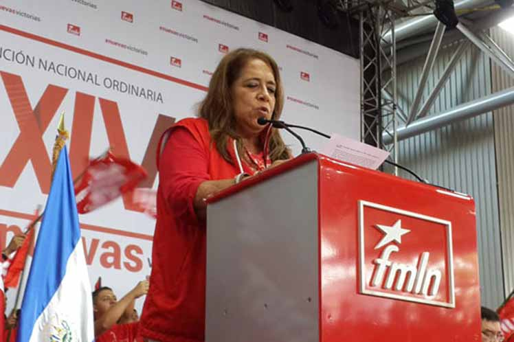 FMLN International Relations Secretary Nidia Diaz expresses her party's solidarity with Venezuela. (Prensa Latina)