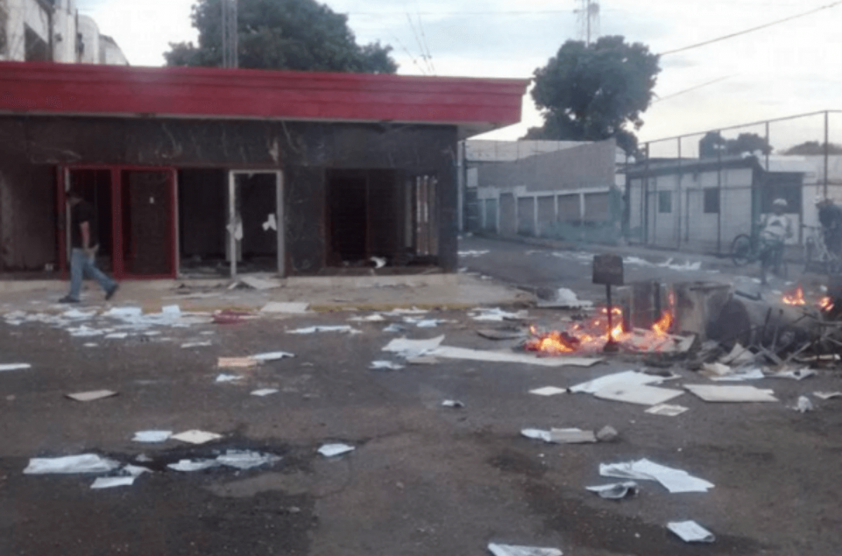 The exterior of the Perijanera 95.1 community radio station in Machiques de Perija, Zulia, following an alleged opposition attack on Monday. (MINCI/Handout)