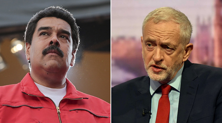 Venezuela's President Nicolas Maduro (L), Jeremy Corbyn, leader of Britain's opposition Labour Party (R). (Reuters)