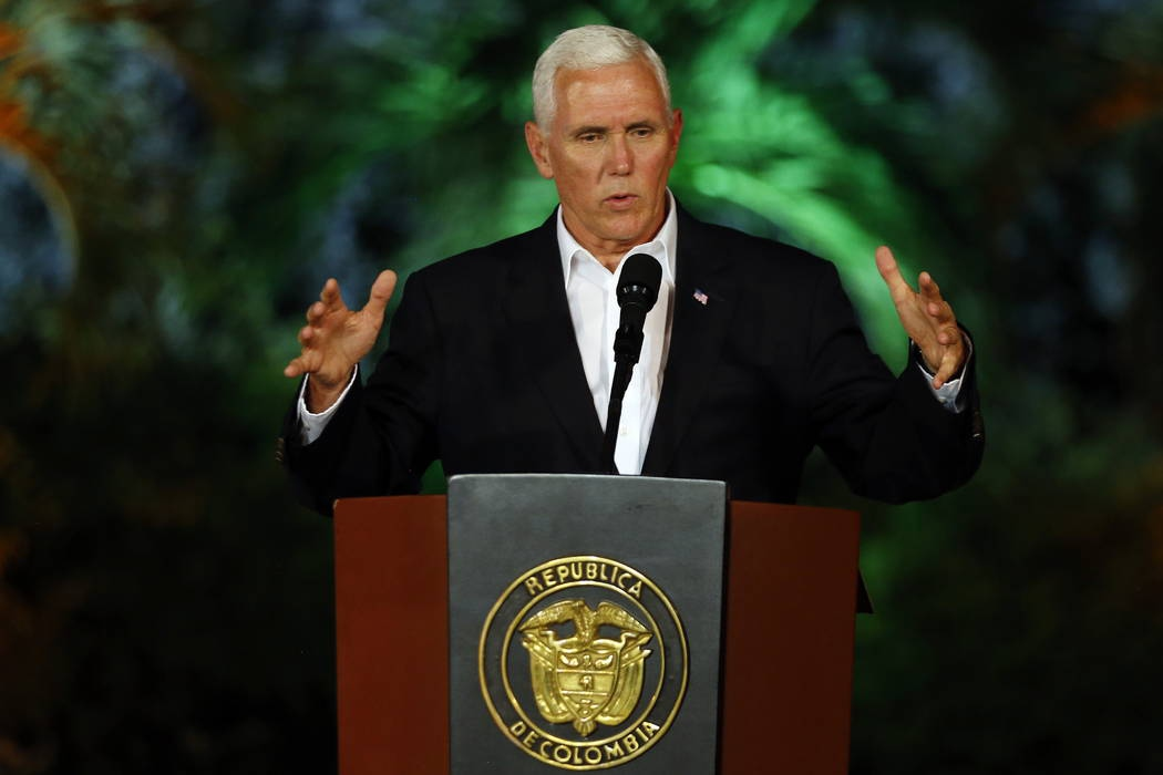 US Vice President Mike Pence speaking in Colombia. (AP)