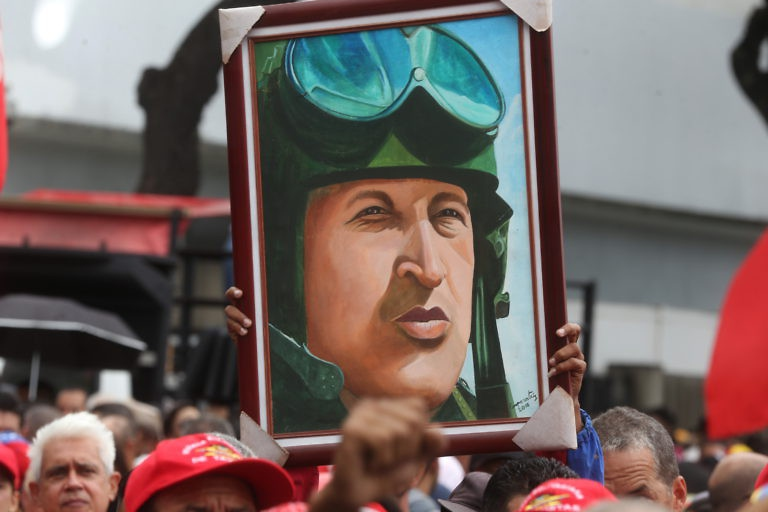Portrait of President Hugo Chavez at a pro-government march in Caracas on August 14. (AVN)