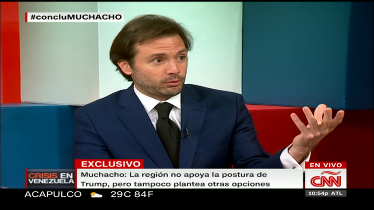 "Former Chacao mayor Ramon Muchacho speaks to CNN on August 14. The lower third reads, ""Muchacho: the military alternative could end up being inevitable for the US government."" (Screen capture)"