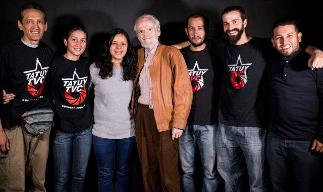 Tatuy TV members with Venezuelan historian Luis Britto Garcia (Tatuy TV)