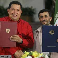 Venezuela's President Chavez and Iran's President Ahmadinejad present new cooperation agreements they signed late Thursday night.