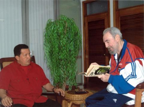 Venezuelan President Hugo Chavez and Cuba's Fidel Castro during their October 14, 2007 meeting in Cuba.