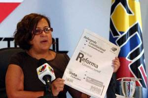 CNE President Tibisay Lucena during the press conference where she announced the ban on ads for and against the constitutional reform. (El Nacional)