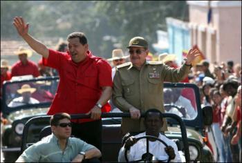 Venezuelan President Hugo Chavez with Cuban leader Raul Castro in Santiago de Cuba (AFP)