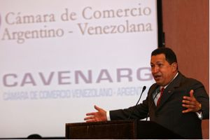 Venezuelan President Hugo Chavez at a meeting with Argentinean businessmen (ABN)