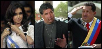 Argentinean President Cristina Fernandez, Venezuelan-American Guido Alejandro Antonini Wilson, and Venezuelan President Hugo Chavez (AFP)