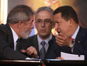 Venezuelan President Hugo Chavez and Brazilian President Luis Inacio Lula da Silva during a meeting in Caracas last week (Miraflores)