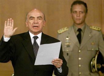 Coup president Pedro Carmona swears himself into office on April 12, 2002 (Archive)
