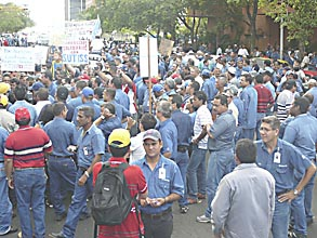 Sidor workers strike last Thursday (Aporrea)