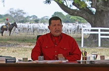Venezuelan President Hugo Chavez broadcasting his weekly talk show from the southern state of Apure on Sunday. (Prensa Miraflores)