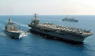 The U.S.S. George Washington is currently in Brazilian waters carrying out military exercises.