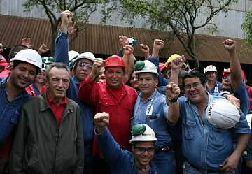 Venezuelan President Hugo Chavez meets with Sidor workers (ABN)