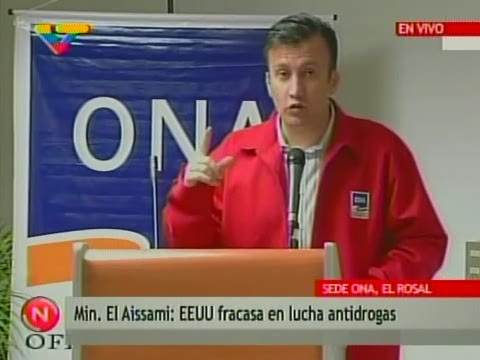 Venezuela's recently appointed Minister of the Interior and Justice, Tarek El-Aissami, spoke to the press at the National Anti-Drug Office (ONA) Tuesday. (VTV)
