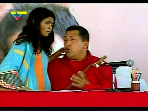 Hugo Chavez speaking on the Day of Indigenous Resistance. (VTV)