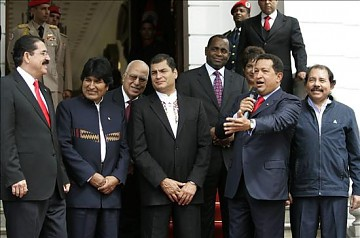 The presidents of ALBA member countries and associates in Caracas Wednesday