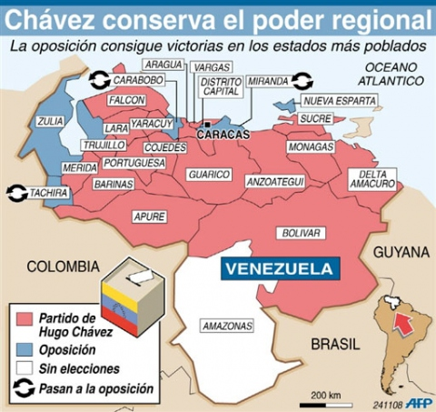 Red: PSUV win - Blue: Oppositon win - White: no election - arrows: switch towards the opposition (AFP)