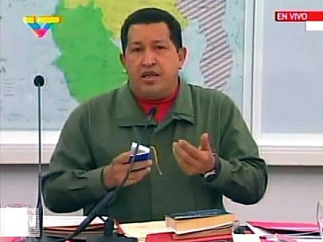 President Hugo Chavez announced the PSUV's decision to introduce the amendment through the National Assembly Friday night. (VTV)