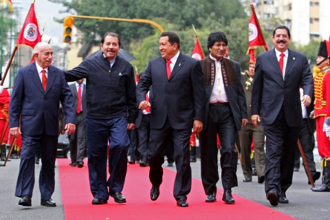 From Left, Cuban Vice President Jose Ramon Machado, Presidents Daniel Ortega of Nicaragua, Hugo Chavez of Venezuela, Evo Morales of Bolivia, and Manuel Zelaya of Honduras. (ABN)