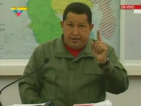 President Chavez announced the decision to expropriate in the Miraflores presidential building Wednesday (VTV)