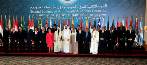 A photo of all the heads of state who attended the summit in Qatar Tuesday, except Argentine President Cristina Fernandez.