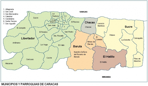 The municipalities and parishes of Caracas (Archive)