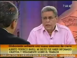Alberto Ravell, the director of Globovision, a prominent opposition TV station that is under inspection (RCTV)