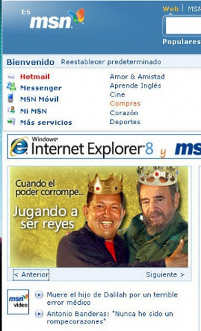The MSN Spain home page yesterday