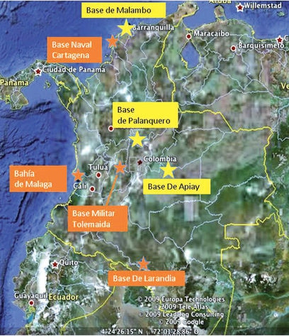 The seven US bases in Colombia (Ultimas Noticias)