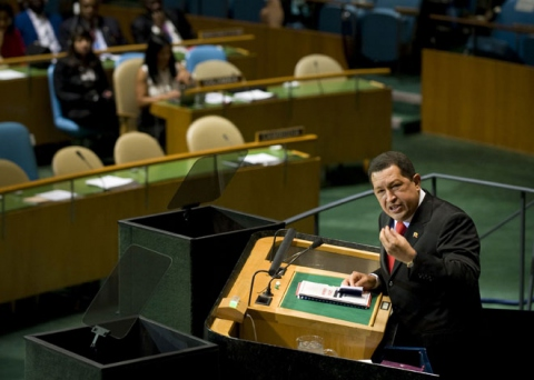 President Hugo Chavez at the U.N. General Assembly in New York.