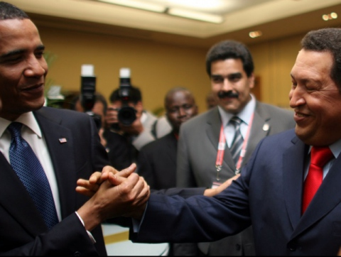 """Obama's new diplomacy approach with Hugo Chavez and other Latin American leaders worked wonders at improving U.S. image in the region. However, for """"dinasaur"""" Jeffrey Davidow, Chavez only wanted a photo with Obama to polish his reputation with Venezuelans"""