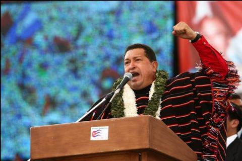 Venezuelan president Hugo Chavez at the ALBA conference (Francisco Batista/Minci)