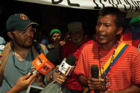 A young Yukpa man speaks at a recent protest in defense of Chief Sabino Romero (Emilio Guzman)